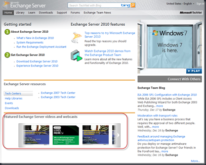 Exchange Server Home Page!